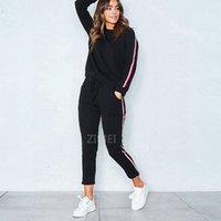 OLN 2020 2pcs Mulheres Ladies Treino Cortar camisola Hoodies Calças conjuntos de fatos de mangas compridas casual sportswear
