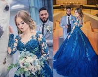 Шикарные кружевные аппликации Sheer шеи Quinceanera платья с длинными рукавами Сексуальные королевские голубые сладкие 16 платья выпускного вечера.