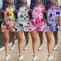 Gazete Baskı Kadınlar Eşofman Kısa Kollu O yaka t Gömlek Tops + Şort 2 Adet Suit Yaz tişört Kıyafet Moda Tasarım Giyim Seti 2XL
