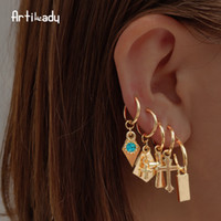 Nouvelles boucles d'oreilles coréennes 2019 pour les femmes amoureux coeur rond Drop Dangle Fashion Earring Gold géométrique bijoux en gros
