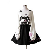 Black Comic  Dress Teens Girls 2 Pcs Suit Sweet Cotton Dress Short Cute  Print Long Sleeves Japanese Lolita
