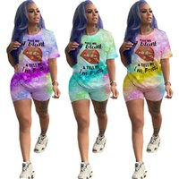 Plus size S-5XL Women tie dye Tracksuit casual Outfits sports 2 piece set short sleeve t-shirt+shorts summer clothing running suit 3140