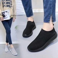2019 Hot Women Flat Shoes Breathable Knitted Mesh Walking Sn...