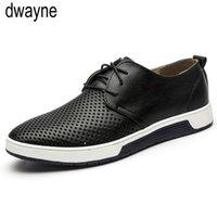 ثقوب الرجال الاحذية الجلدية الصيف تنفس حذاء مسطح لdfv67 الرجال قطرة شحن