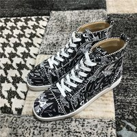 Haut Top noir, graffitis Sneakers Sneakers Hommes, Femmes Spikes Orlato Red Fond Sneaker Sneaker Chaussures Casual Luxe Pas cher Formateurs les plus populaires