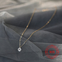 delicate 6 mm cz charm rose gold chain necklace for girls ge...