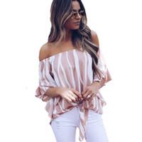 الشيفون بلوزة النساء أزياء مخطط قميص الصيف معطلة الكتف عارضة قمم القوس التعادل ضمادة النساء البلوزات قميص blusa موهير S-xl