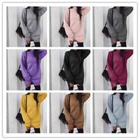Frauen-Mädchen-High Neck Pullover Kleid Herbst-Winter-warmen Normallack lose Strickkleider Fashion Knitting Hoodie Turtlenecks Lange Split-Kleid