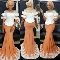 Charmant ASO EBI Africain Floral Floral Floral Mermaid Soirée Robes de bal de bal de l'épaule Applique Cristal Perlé Peraded Robe Formelle Pas cher