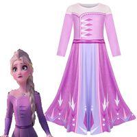 فتاة إلزا 2 فستان الأميرة UP الأرجواني طباعة ثوب النوم للأطفال عيد الميلاد فتاة الثلج الملكة يتوهم حلي ملابس كاجوال