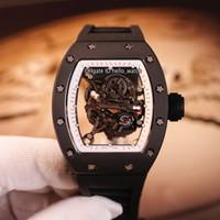 Лучшая версия New RM055 Скелетные циферблаты Япония NH Автоматические мужские Часы Черный Y-TZP Керамический корпус Сапфир Белый Внутренний Резиновые Часы Hello_Watch