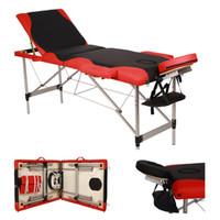 Waco Massagetafel, SPA Bodybuilding Meubels, 3 Secties Vouwen Aluminium Tube Fold-Draagbare Gezichtsbeauty Bed Tattoo Carry Case - Zwart met Rood