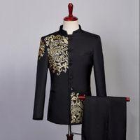 Blazer Männer chinesischen Tunika Anzug mit -hosen Stickerei Mens Hochzeit passt Kostüm Sänger Stern Stil Bühne Kleidung des formalen Kleides 5698413