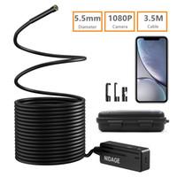3.5M Kablo Kablosuz Endoskop Yarı Sert Borescope WiFi Gözlem Kamerası 2.0 megapiksel HD Endoskop 5.5mm Yılan Kamera PQ104