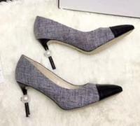 Vente chaude-Luxe Designer Femmes Tweed Pompes Perle Stiletto Talons Hauts Pantoufles Classique Femmes Chaussures De Mariée De Mariage Chaussures