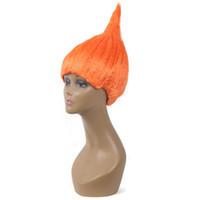 Trolls peruca colorido da festa de Halloween Chama Chefe peruca Para Cosplay perucas verde Red Top Quality Crianças Cosplay