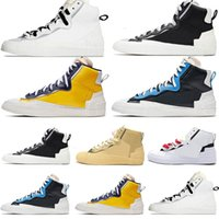 Nike Blazer Shoes Sports Outdoor Mens Blazer Mid Sacai Casual Running Shoes Combine Dunk High Cut Fashion White Black Grey University Blue Sneakers