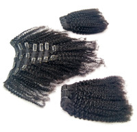 """Hint Afro Kinky Kıvırcık Örgü Remy Saç Klip Insan Saç Uzantıları Doğal Renk Tam Kafa 8 adet / takım 120g 8 """"-20"""""""