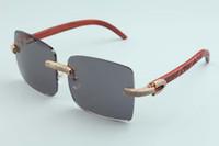 مصنع جديد للبيع المباشر إطار كبير النظارات الشمسية مربع الماس الكامل نظارات بدون إطار T3524012-2D الفاخرة اليد الطبيعية منحوتة خشبية نظارات