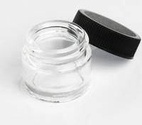 vasi di vetro antiaderente contenitori cera Olio 5ml commestibile stona tamponare titolare olio magazzino di attrezzi concentrato con i coperchi neri