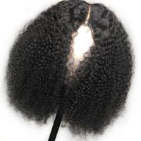 13x4 кружева фронт короткие Боб парики 150% афро кудрявый кудрявый человеческий парик предварительно выщипанные отбеленные узлы Реми монгольские парики волос