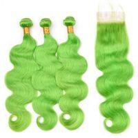 Silanda Coiffures Précédent Lumière Vert Veange De Corps Remy Humain Cheveux Humain The Tein de Tissage 3 Fermeture de dentelle 4x4 Fermeture Livraison Gratuite
