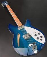 330 360 12 cuerdas Trans Trans Blue Semi Hollow Cuerpo de guitarra eléctrica Gloss Barniz Fingerboard de palisandro, 2 pastillas de tostadora, dos tomas de salida