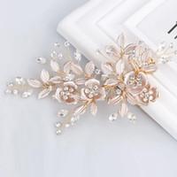 Ручной работы золотой кристалл пресноводный жемчуг цветок лист свадебный зажим для волос заколка свадебный головной убор аксессуары для волос