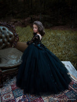 Noir à manches longues robes fille fleur pour les mariages Vintage dentelle Appliqued enfant en bas âge Pageant robe cristal Little Baby Communion bal Robes