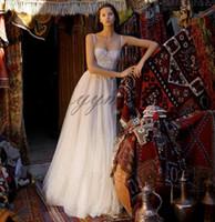 뜨거운 판매 웨딩 드레스 스파게티 스트랩 레이스 Applique 비치 간단한 플러스 크기 긴 신부 가운 사용자 지정 만든 된
