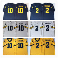 Günstige NCAA Football Michigan Wolverines Herren # 10 Tom Brady Jersey # 2 Charles Woodson Navy Weiß Gelb Genähte College Football Trikots