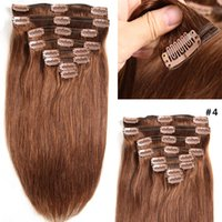 #4 Brown Clip In Remy Human Hair Extensions 8pcs set 100g Ch...