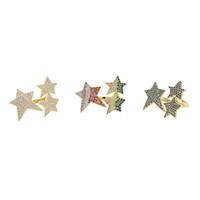 2019 da cor do Ouro azul arco-íris branco 3 cores claras CZ zircônia delicada big star sol burst aberto ajustar junta mulheres anel de jóias