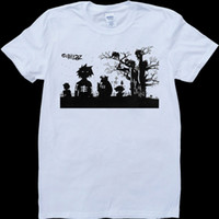Gorillaz Mens White, t-shirt custom made in t-shirt da uomo in denim