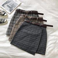 Kore Düzensiz Lady Etek Kadın Sweet Yüksek Bel A-line Mini Etek Vintage Casual Kadınlar Ekose Etek Şık Sashes
