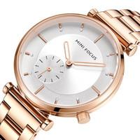 MINI FOCO Mulheres Moda Relógios Ladies Watch 30M Waterproof Rose Gold aço inoxidável