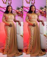 Дубай Arabic Luxury Sparkly Вечерние платья 2020 Sexy Bling Jewel шеи Аппликация одно плечо с длинным рукавом Русалка Часовня Свадебные платья