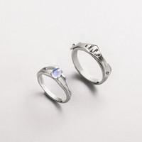 Thaya naturel bleu clair Moonstone Anneaux Lovers Ring romantiques 100% S925 Argent Bandes Armure pour les femmes Vintage J190709 bijoux élégants
