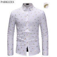 Stylish Gold Fan Print Whire Men Shirt Slim Fit Long Sleeve ...