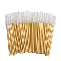 300 Stück Mascara Wands Einweg-Augen-Peitsche-Applikatoren für Wimpernverlängerung Make-up Pinsel Toolkits mit Gold- / White Hot Verkauf