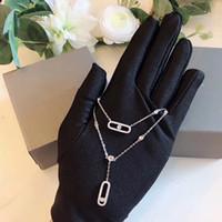 100% 925 diapositivas joyería CZ de circón en movimiento Piedra collar colgante para móvil collar de diamantes sola cadena doble de las mujeres de la moda