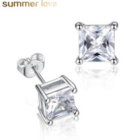 Fashion Square CZ Zircon Stud Earrings For Women 5mm- 8mm Zir...