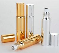 300pcs Atacado 10ml Perfume Bottles ROLL ON GLASS GARRAFA Preto, Ouro, Prata Fragrances ÓLEO ESSENCIAL Com Metal Ball rolo frete grátis
