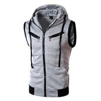 Couleur unie Hommes à capuchon à capuche Mode Mâle Manches Veste Zone Zipper Poche Gilet Coton Coton Hommes Vest plus Taille XXXL