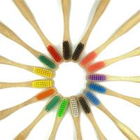 Зубная щетка Многоцветный Портативный Новый Стиль Простота Универсальный Популярные Зубные щетки Круглая Ручка Сырье Бамбук Натуральный Горячий Продавать2 7sx p1