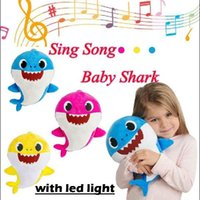 30cm light Music Sound Baby Plush Shark led Doll Soft Baby C...