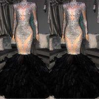 Heißer Verkauf Kristall Prom Abendkleider 2019 Vintage Mermaid Long Sleeve Formale Party Kleid Mantel Feder Pageant Kleid BC1265