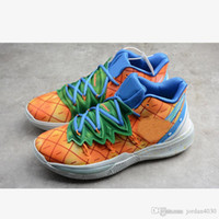 Nike Kyrie 5 Spongebob Pineapple House 2020 Neue Top Hot Kyrie 5 5s Basketball ShoesSpongebob Pineapple House Orange Blau Designer-Schuhe CJ6950-800 Größe 39-45 mit dem Kasten
