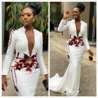 Sirena blanca Sexy 2019 Vestidos de noche africanos Cuello alto Mangas largas Apliques Vestidos de fiesta con cuello en V profundo Vestido Formal Formal