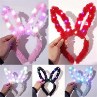 Peluche farcito LED Coniglio Hairband Shine Cat Ear Horn Corona Lovely Easter Hair Hoop Flash Of Light Bunny Girl Puntelli del partito